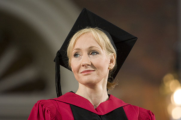 (Cambridge, MA - June 5, 2008) - Morning Commencement Exercises.  Commencement speaker J.K. Rowling acknowledges applause while standing to receive her honorary degree. Staff photo Jon Chase/Harvard News Office
